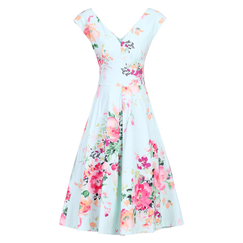 Sky Blue Floral Print V Neck Sleeveless 50s Swing Flare Dress