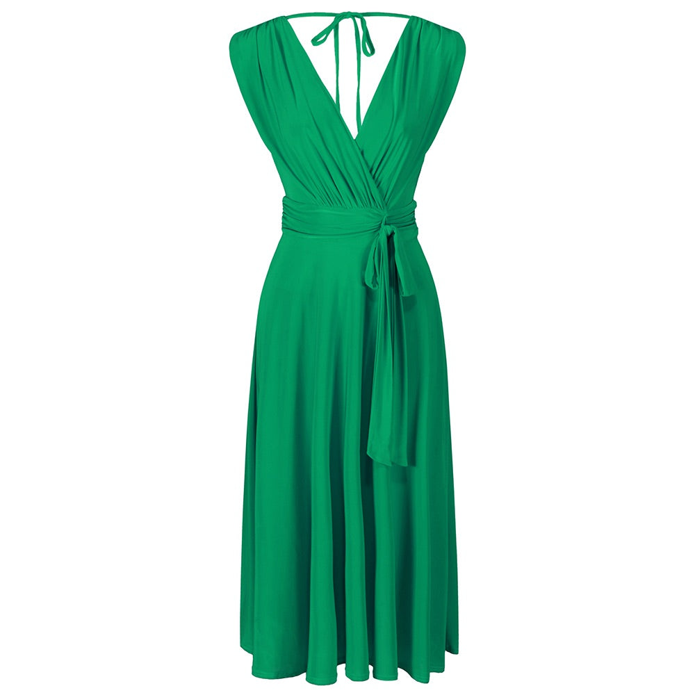 4f7628623643 Emerald Green Crossover Top Empire Waist 50s Swing Cocktail Dress