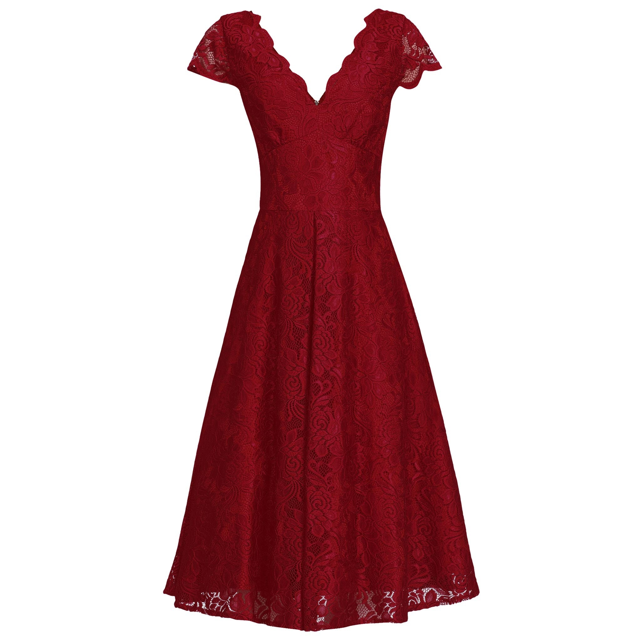 bba598ecae4b Red Cap Sleeve Embroidered Lace Bridesmaid Swing Dress