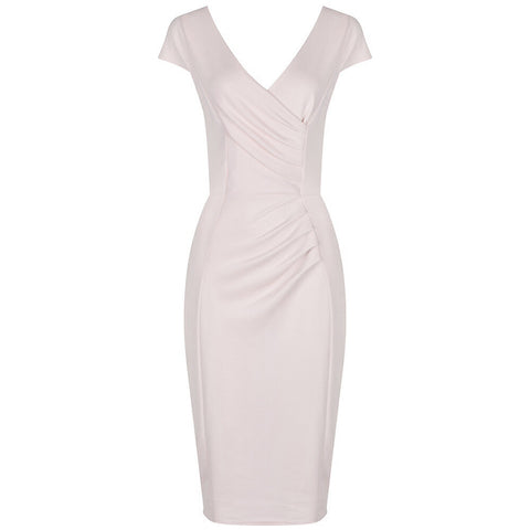 Peach Pink Nude Capped Sleeve Bodycon Wiggle Dress