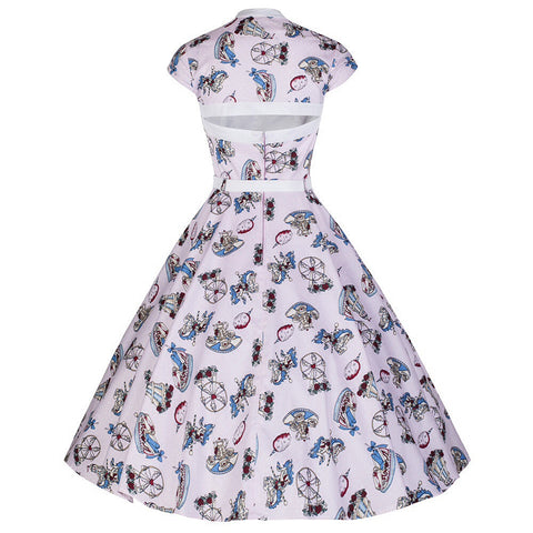 Pink Carousel Rockabilly Party Prom Dress