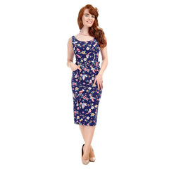 Collectif Navy Blue Bird Print Pencil Dress