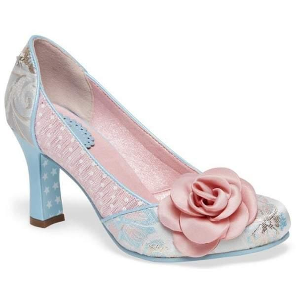 Joe Browns Vintage Blue Pink Corsage Court Shoes - Pretty Kitty Fashion