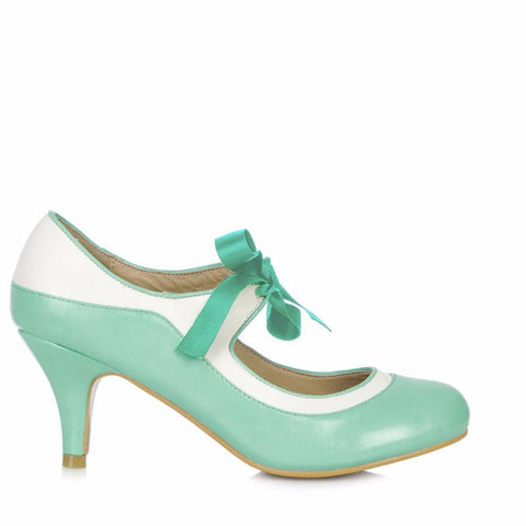 Mint and Cream White Ribbon Tie Heels