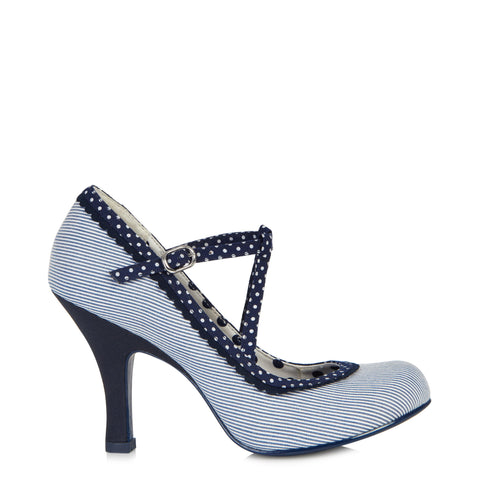 Ruby Shoo Jessica Blue and White Stripe Strappy Heels