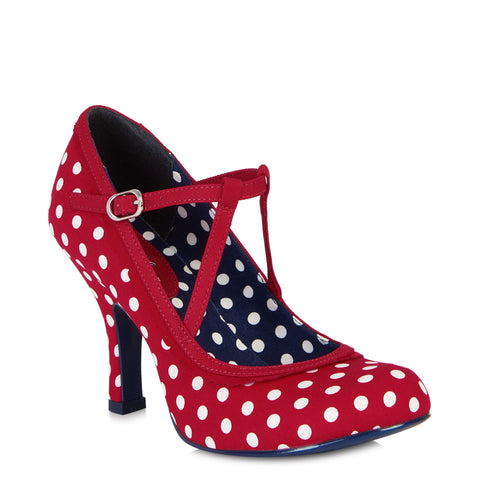 Ruby Shoo Jessica Red and White Polka Dot Strappy Heels