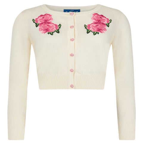 Ivory Floral Embroidered Button Cardigan