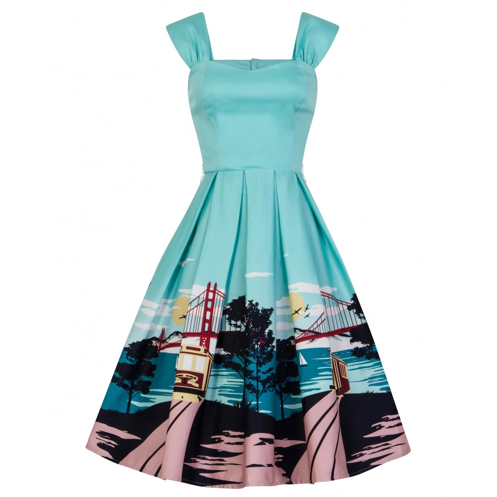 b39d2c3329 Collectif Aqua Blue San Francisco City Print 50s Swing Dress - Pretty Kitty  Fashion