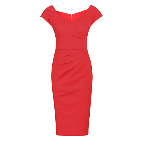 Red Panelled Shoulder Wiggle Pencil Dress