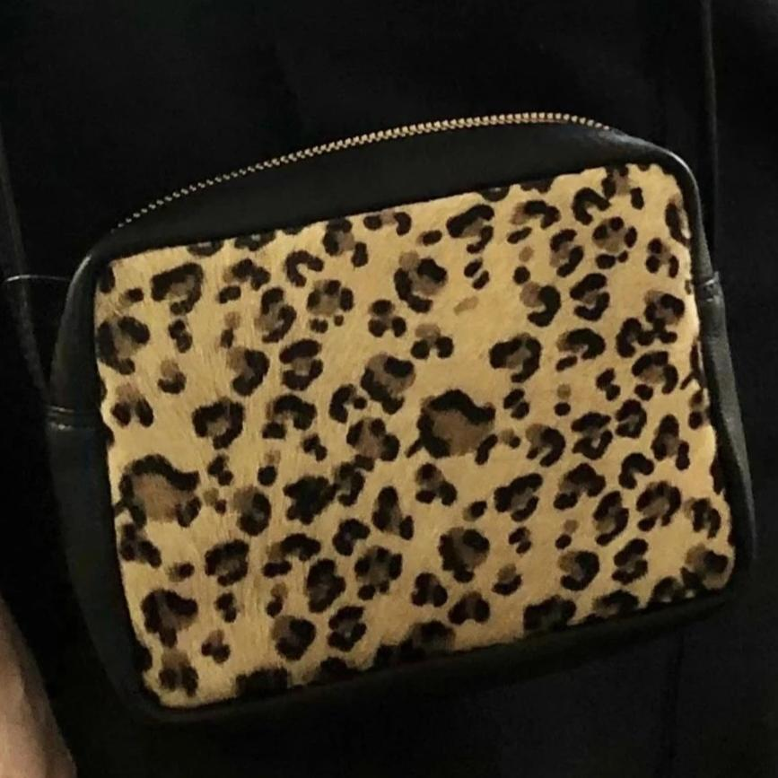 Genuine Leather Leopard Print Box Clutch Bag - Pretty Kitty Fashion