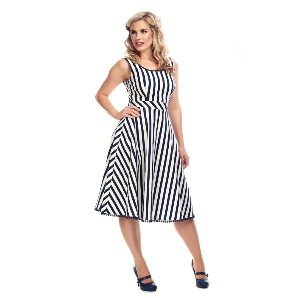 fbc26c2d5d Collectif Navy Blue and White Striped Scoop Neck 50s Swing Dress - Pretty  Kitty Fashion