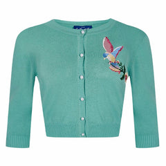 Antique Green Bird Embroidered Button Cardigan