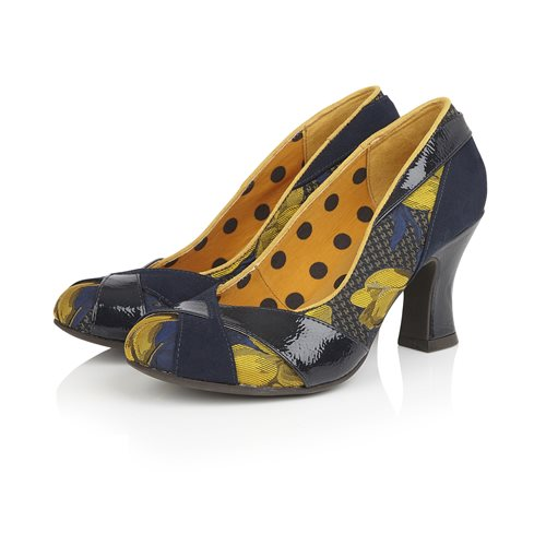 Ruby Shoo Lulu Navy And Mustard Court Shoes
