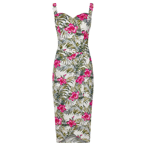 Collectif Ivory White Tropical Print Wiggle Pencil Dress