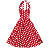 Red and White Polka Dot Rockabilly 50s Halter Swing Dress