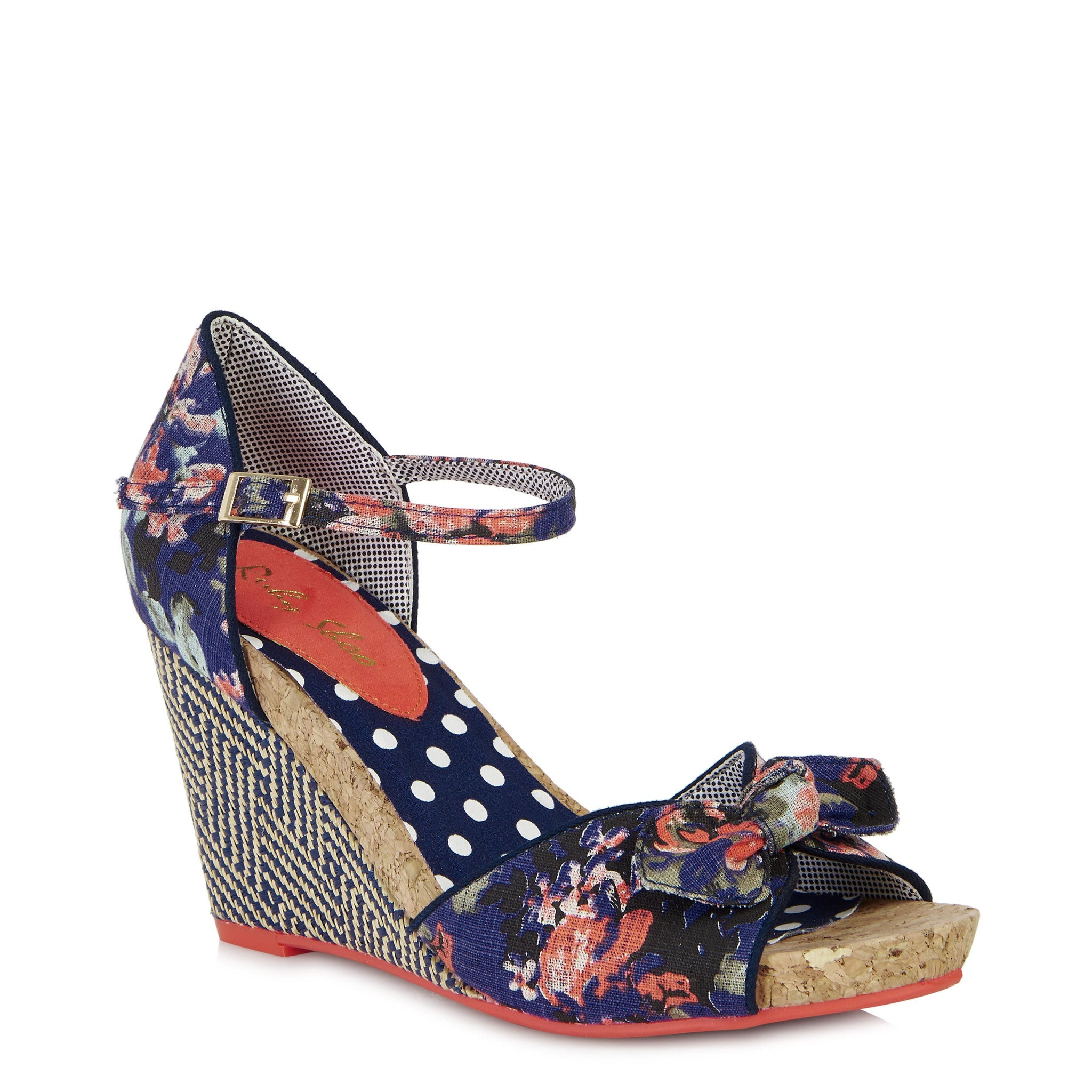 6a098898 Ruby Shoo Molly Navy Blue Floral Open Toe Espadrille Wedge Heels - Pretty  Kitty Fashion