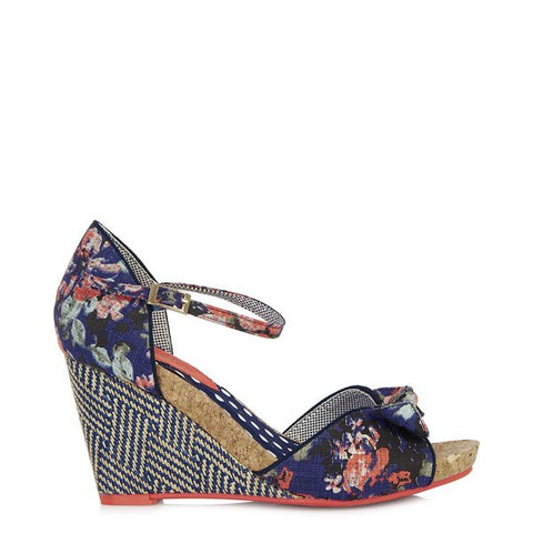 Ruby Shoo Molly Navy Blue Floral Open Toe Espadrille Wedge Heels