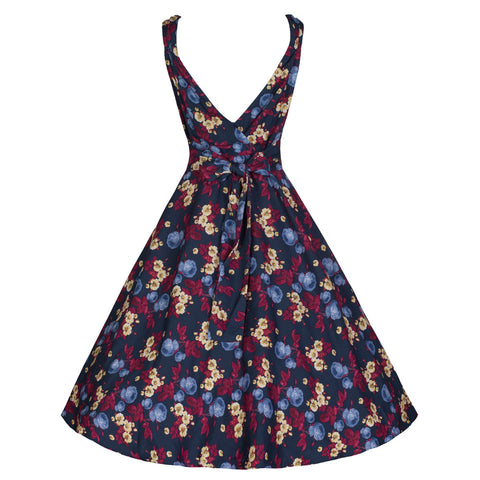 Pretty Kitty Blue Rose Swing Dress