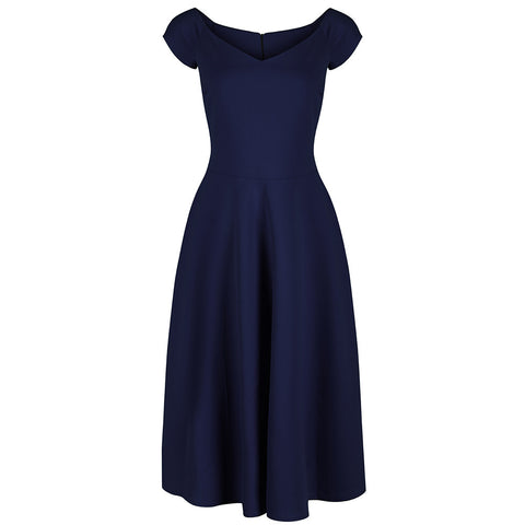 Navy Blue Classic Cap Sleeve Swing Dress