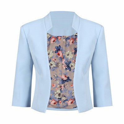Light Blue 3/4 Sleeve Blazer Jacket