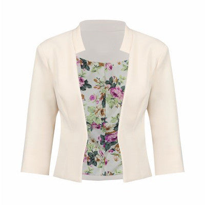 Cream 3/4 Sleeve Blazer Jacket
