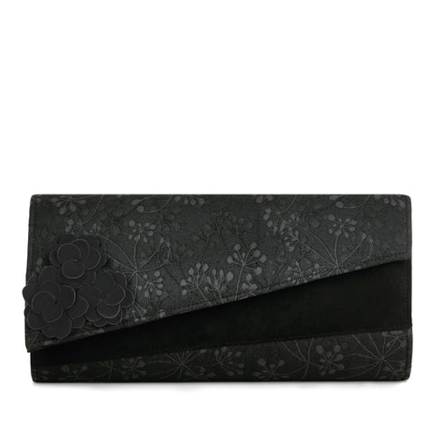 Ruby Shoo Black Faux Suede Clutch Bag