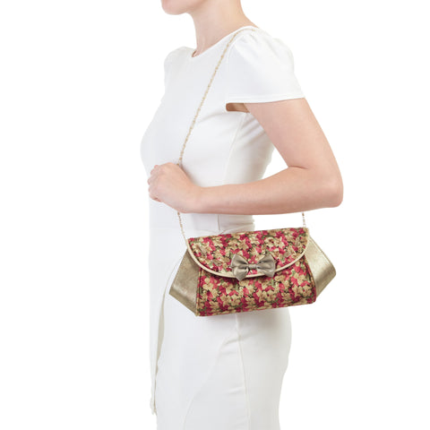 Ruby Shoo Gold Floral Velvet Clutch Bag