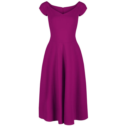 Purple Magenta Cap Sleeve Swing Dress