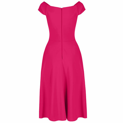 Hot Pink Cap Sleeve 50s Swing Dress