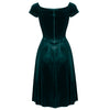 Emerald Green Velour Vintage Crossover Midi Dress