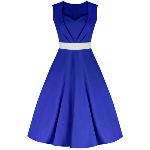 Royal Blue Classic 50s Swing Dress