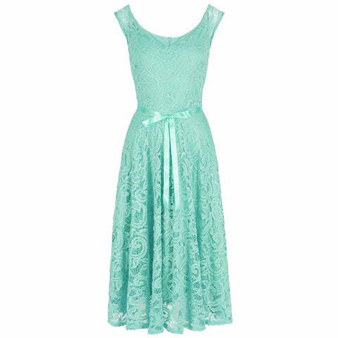 Mint Green Embroidered Lace Belted 50s Swing Dress