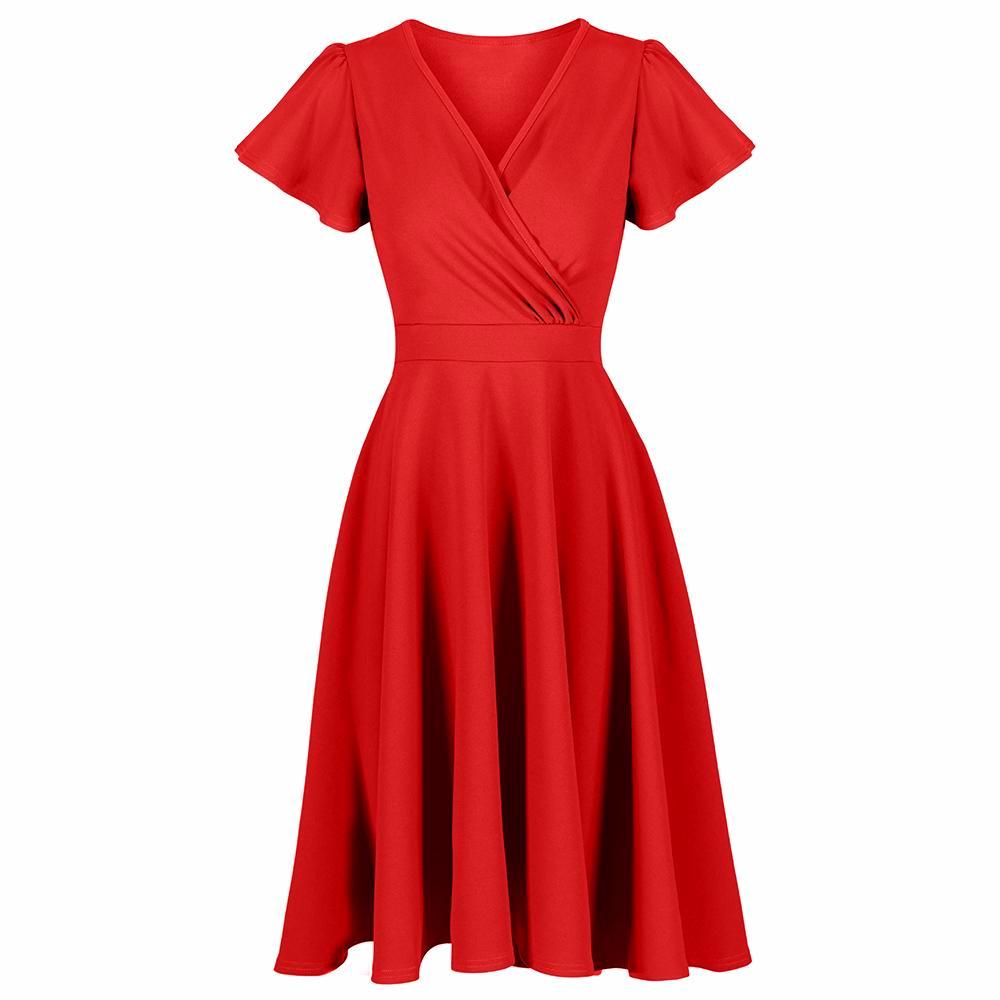 7c560314ea05 Red Gathered Cap Sleeve Crossover 50s Swing Dress - Pretty Kitty Fashion