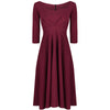 Burgundy Red 3/4 Sleeve Rockabilly 50s Swing Dress - Pretty Kitty Fashion