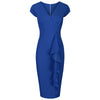 Royal Blue Cap Sleeve Empire Waist Waterfall Ruffle Wiggle Pencil Dress