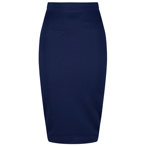 Classic Navy Stretch Pencil Bodycon Midi Skirt