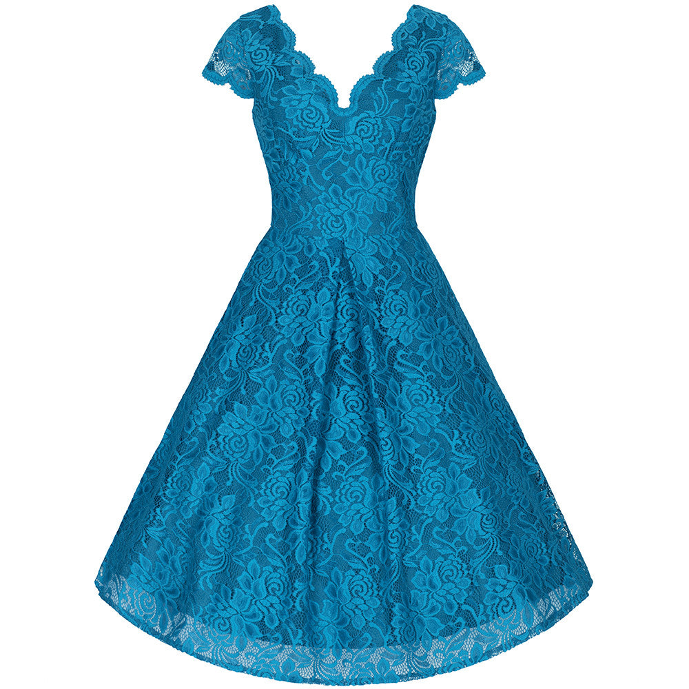 Turquoise Blue Embroidered Lace V Neck Capped Sleeve 50s Swing Dress ...