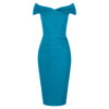 Turquoise Blue Cap Sleeve Crossover Top Bardot Wiggle Dress - Pretty Kitty Fashion
