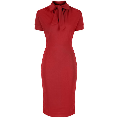 Red Puff Sleeve Tie Bodycon Pencil Dress
