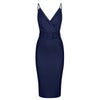 Navy Blue Strappy Bodycon Wiggle Dress - Pretty Kitty Fashion