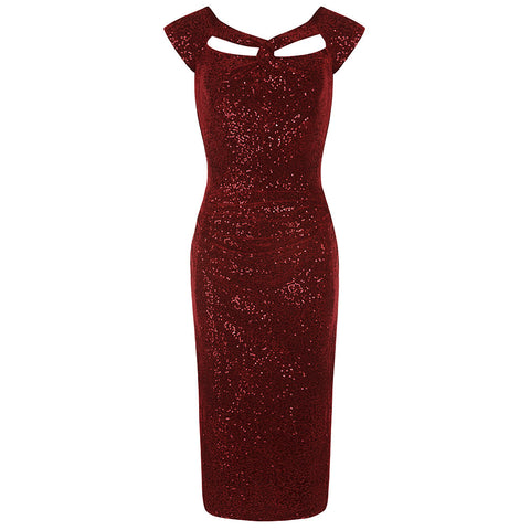 Red Sequin Bodycon Wiggle Dress