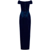 Navy Blue Velour Capped Sleeve Cocktail Party Maxi Dress