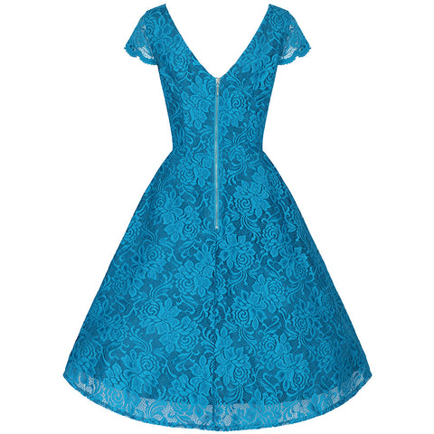 Turquoise Embroidered Lace Swing Dress