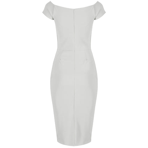 White Ivory Notch Neck Cap Sleeve Bodycon Pencil Dress