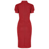 Red Puff Sleeve Tie Bodycon Pencil Dress - Pretty Kitty Fashion