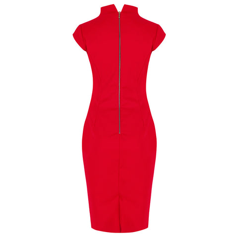 Red High Collar V Neck Ruched Pencil Dress
