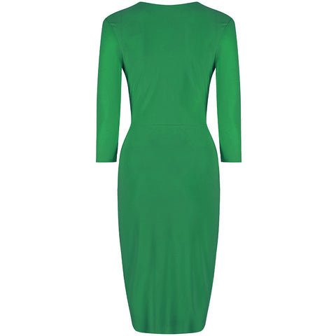 Emerald Green 3/4 Sleeve Crossover Wrap Bodycon Wiggle Dress
