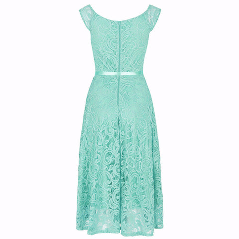 Mint Green Lace Embroidered Belted Swing Dress