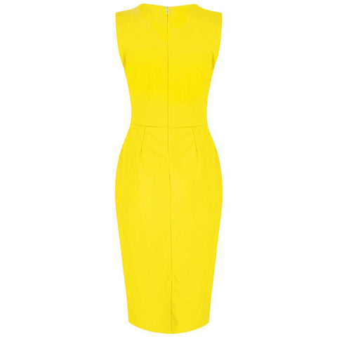 Yellow Vintage Bodycon Pencil Dress