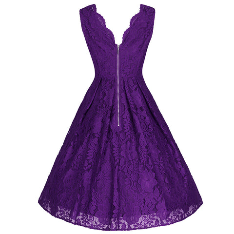 Purple Embroidered Lace V Neck Sleeveless 50s Swing Dress